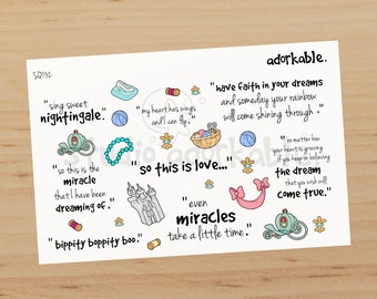 Cinderelly Quotes Large Glossy Stickers / SQ732