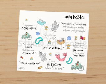 Cinderelly Quotes Small Glossy Stickers / SQ733