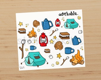 Camping Icons Glossy Stickers / SI691
