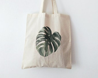 Monstera TOTE BAG, minimalist, hand painted, cotton bag, eco friendly bag, shopping bag, grocery bag, reusable bag, monstera bag, plant lady