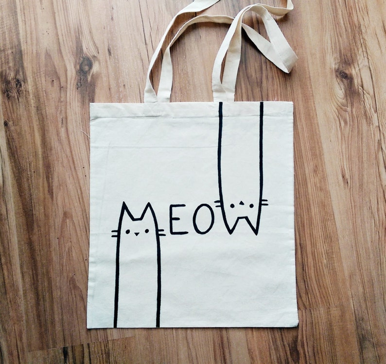 f74a2bda5f MEOW TOTE BAG cat bag cat lover cat gifts cat lady