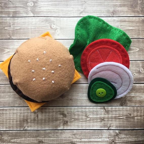 Felt Food Toys R Us : Felt burger play food montessori toy autism toys stacking