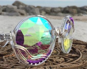 NEW Purple Copper Wire Wrap Sunglasses Men Women <> DiFFRaCTioN Glasses <> SPUNGLASSES <> Unisex Kaleidoscope Fractal Sunglasses Eyeglasses