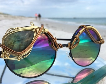 HUGE Labradorite Rainbow Round Sunglasses, Copper Gold Artisan Art Deco Sunnies, Sun glasses, Retro Sunglasses, Mod Sunglasses, Future, NEW