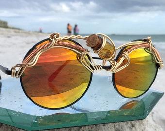 Yellow Gold Round Sunglasses, Unisex Mens Womens Sunglasses, Third Eye Cork Bottle, Sun glasses Spunglasses Eyewear Eyeglasses, NEW