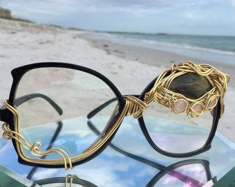 ARTiSAN Clear Oversized Sunglasses, Rose Quartz & Labradorite, Bold Large Sunglasses, Party Costume Sun Glasses, Embellished Eyewear, NEW