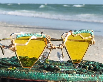 8ffb88f8cb81e Wire Wrapped Sunglasses    Yellow Triangle Sunnies    Festival    Bohemian  Hippie Style Wear    Free SHipping