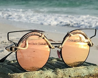 c77f0f9107f PASTEL PiNK Sunglasses    Wearable Art    SPUNGLASSES    Gold Copper Wire  Wrapped