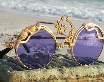 869d1c2d5b6ce Festival Third Eye Sunglasses   Purple Round Eyeglasses    Gold Opal WIre  Wrapped    Boho Hippie Gypsy    Every pair is a piece of art