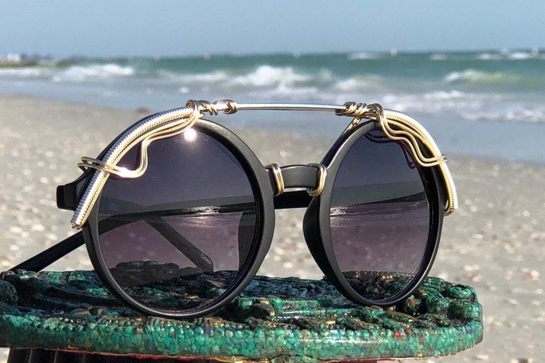 1ec0017d9c9 BOHEMiAN Black Silver Wire Wrapped Sunglasses, NEW STYLE, Trend 2019, Bold  Large Eyewear Eyeglasses, Bohemian Chic Retro Runway, New