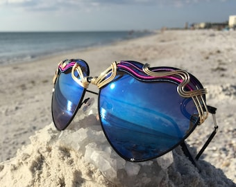 HEARTS Blue ~ SPUNGLASSES <> Wire Wrapped <> Metal Frames Mirror Reflective Sunglasses Eyewear OoaK ~ Every pair is a piece of art