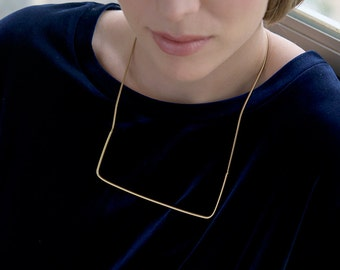 Geometric Gold Necklace, Modern Gold Necklace, Gold Everyday Necklace, Square Necklace Gold, Gold Line Necklace, Modern Necklaces for Women
