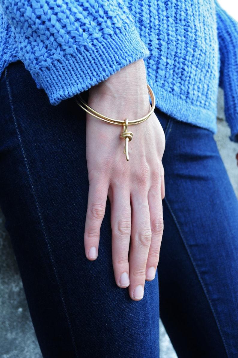gold bangle,tassel bracelet,gold knot bracelet,metal tassel bangle,gold statement bracelet,statement bangle,knot bracelet SALE