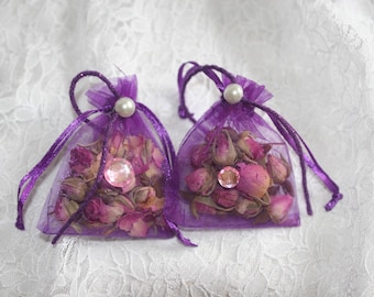 Five Purple Organza Bags Filled With  Dried Rose Buds