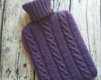 Cable Knit Handmade Hot Water Bottle Cover In Purple - Bottle Included