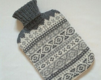 Handmade Knitted Hot Water Bottle Cover. Fair Isle in Charcoal, Grey and Cream.