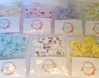 10 x love hearts mini bath bombs Lavender Oud Rose Lemon Orange Mango Baby Powder made in UK fresh mixed