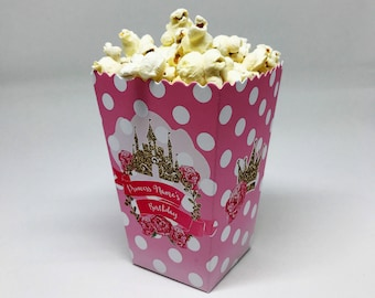 5 x Princess Childrens Personalised Mini Popcorn Party Treat Boxes Favour