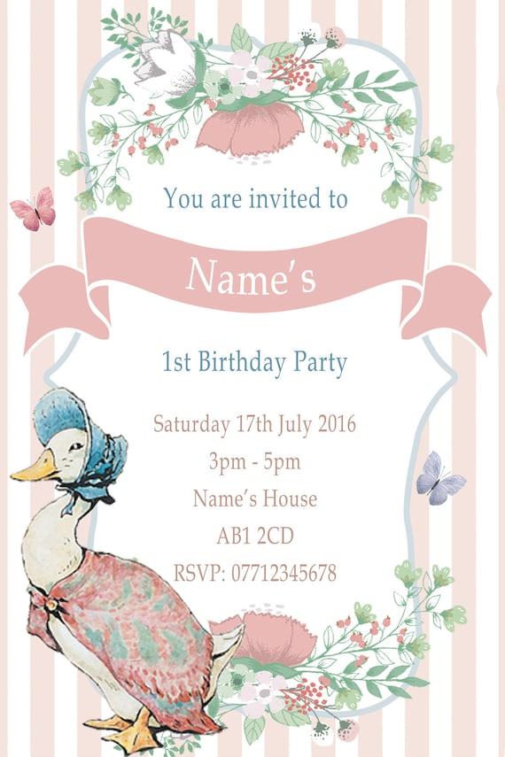 10 Peter Rabbit Jemima  Personalised Birthday Party Invitations Roses Flowers
