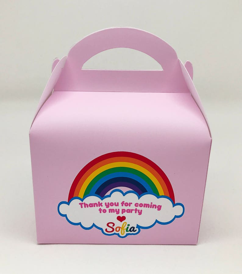 Various Rainbow Personalised Children Party Boxes Gift Favour