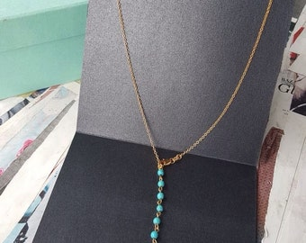 Turquoise  necklace,gold plated chain