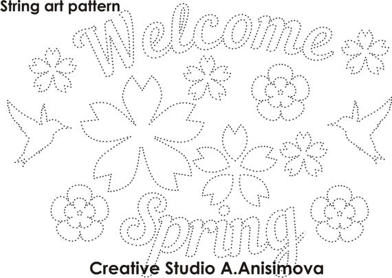 String Art Template String Art Pattern String Art Spring Etsy Cool String Art Patterns