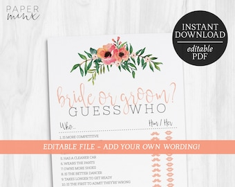 Bride or Groom Editable Game | He Said She Said Game | Bachelorette Games | Hens Party Games | Bridal Shower | Floral | Guess Who Said It