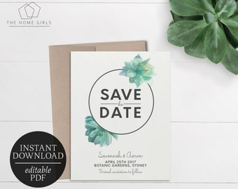 save the date tropical editable template printable etsy