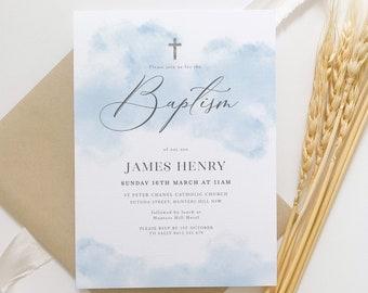Baptism Boy Invitation, Blue Christening Invitation Template, Light Blue Watercolour, Boys Blue Silver, Printable Baptismal Invitation