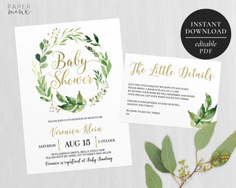 Baby Shower Invitation | Wreath Greenery | Printable | Editable | Leafy Wreath Baby Shower Invitation | Leaves | Watercolour | Gold Foil
