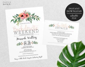 Printable Bachelorette Weekend Invitation | Editable Template | Bachelorette Party Invitation | Floral | Watercolour Flowers | Pink