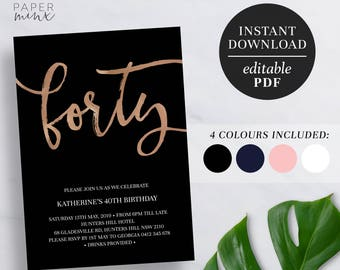 printable 40th birthday invitation rose gold foil editable template faux foil 40 forty 40th birthday invite navy pink black