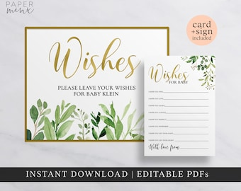 baby shower wishes cards greenery wishes cards editable mom to be mum to be parents to be printable wishes cards and sign gold