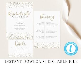 Printable Bachelorette Weekend Invitation, Editable, Gold Bachelorette Invitation, Gold Glitter, Itinerary Invitation, Gold Invitation