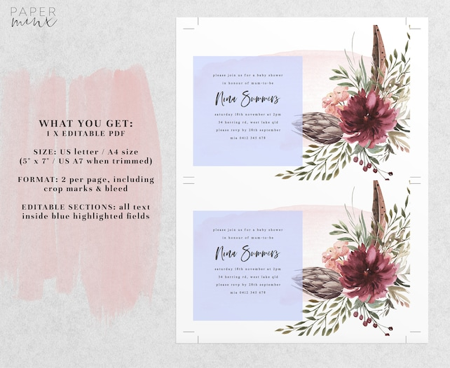 Burgundy Floral Baby Shower Invitation Template Editable Pdf
