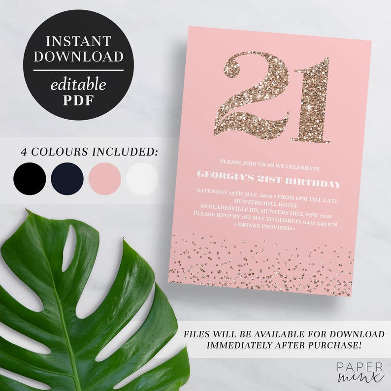 Printable 21st Birthday Invitation Rose Gold Glitter
