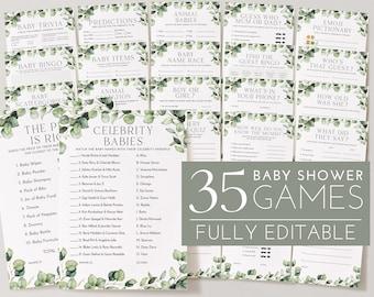 Greenery Baby Shower Games, Baby Shower Editable Games, Printable Games, Greenery Baby Games Pack, Celebrity, Bingo, Gender Neutral Games