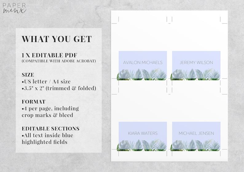 Editable Place Cards Wedding Place Cards Leaf Editable Tropical Place Cards Template Printable Avalon Leaves Palm Leaf