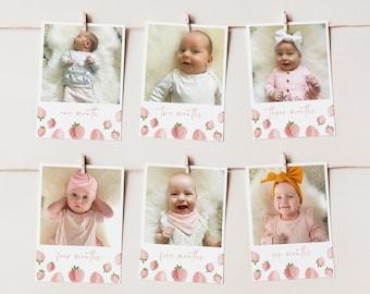 First Year Photos, 1st Birthday Milestone Photos, Baby's First Year Month Photos, Monthly Photo Banner, Birthday Decor, Strawberry Birthday