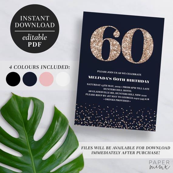 Printable 60th Birthday Invitation Rose Gold Glitter