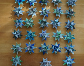 Lot of 28 Moravian Stars - upcycled atlas paper