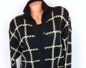 VTG wool cardigan button up black white Ann Klein II Small oversized sweater  80s 6584ae645