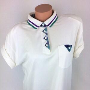 VTG 80s nautical marine stars xmas polo shirt top tee red white by BLAST Size M