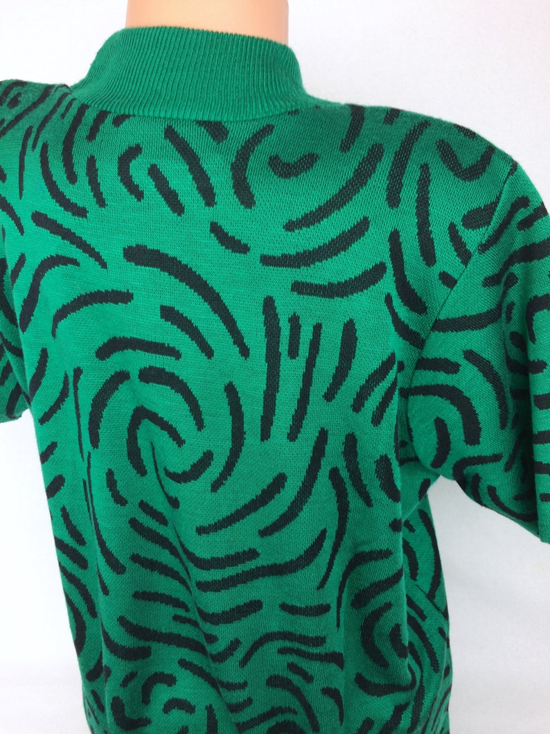 VTG pullover sweater blouse green black BFA Classics spirals Made in USA 80s