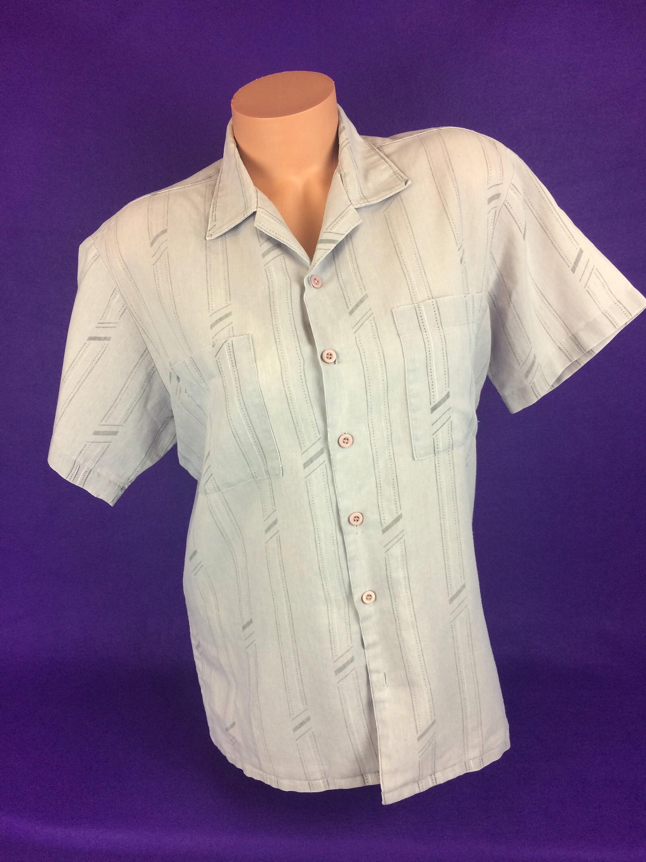 Années 70 VTG délavé fané régression chemise rayé boutonne chemise régression à manches courtes Cal soleil 486a85