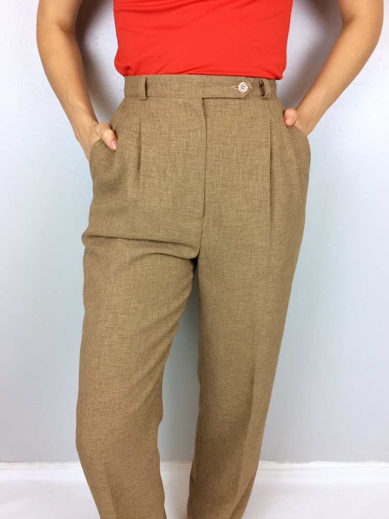 Vtg Micro Linen Trousers High Waisted Hi Rise Pleated Brown Etsy