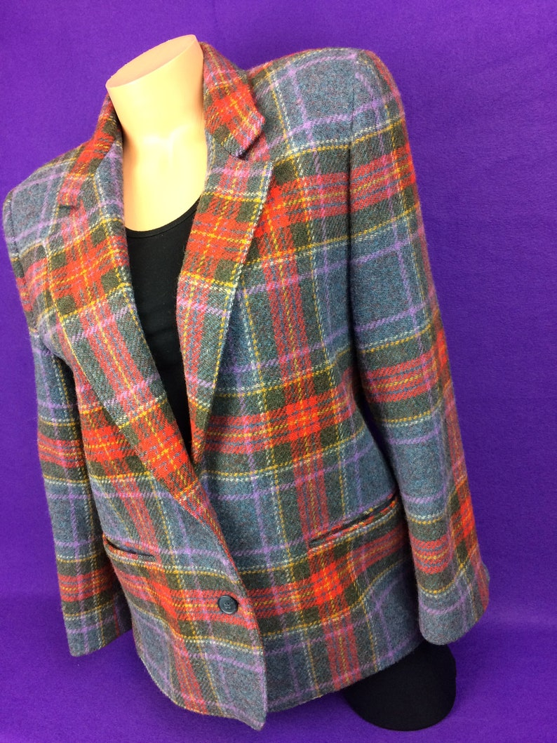 498755daea230 VTG 80s wool plaid tweed sport coat blazer hunting fishing | Etsy