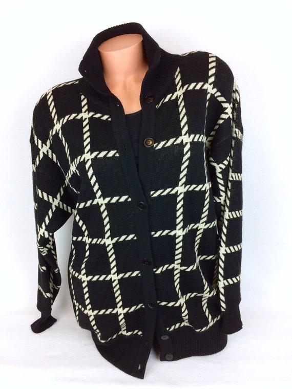 VTG wool cardigan button up black white Ann Klein