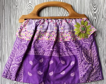 Purple Flower Bandanna Bag