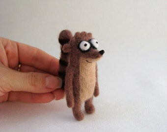 Rigby from Regular Show. Needle Felted Rigby Miniature. 422b925c1
